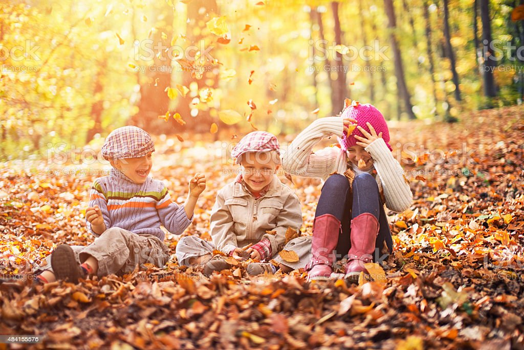 Kids having fun in autumn forest stock photo