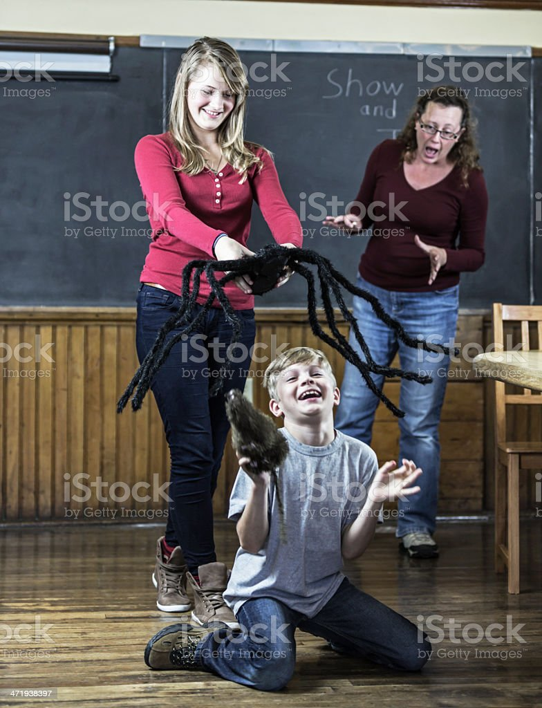 Kids Having Fun In Classroom Show And Tell stock photo