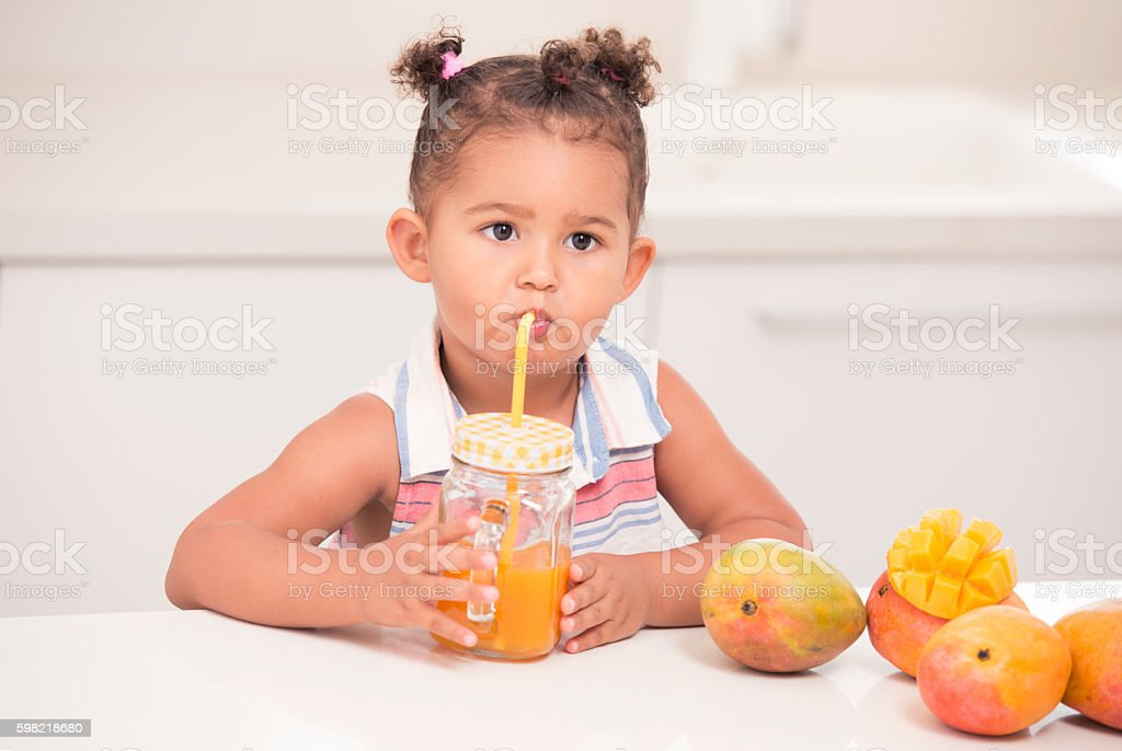 Kids healthy fruit drinks. stock photo