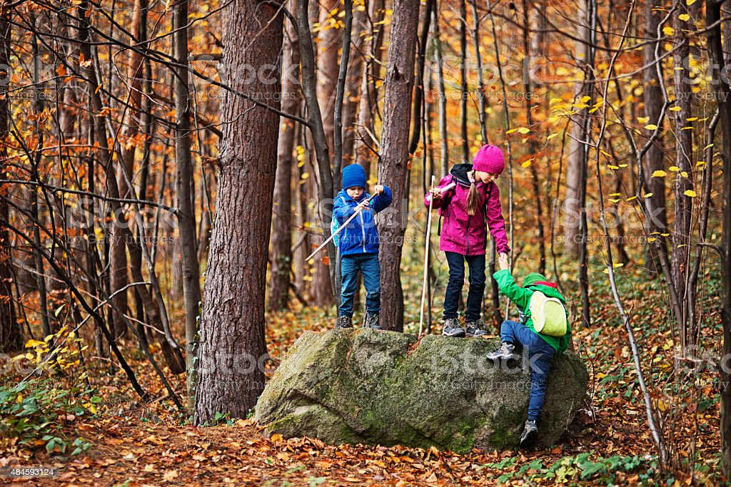 Kids hiking in autumn forest stock photo