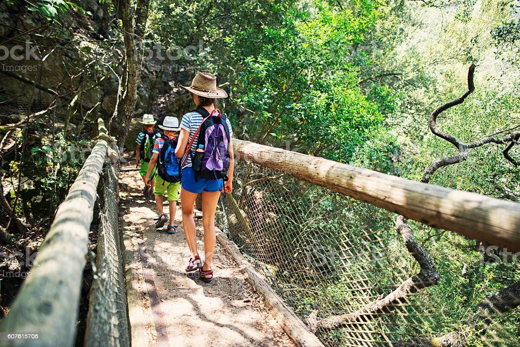 Kids hiking in Majorca mountains stock photo