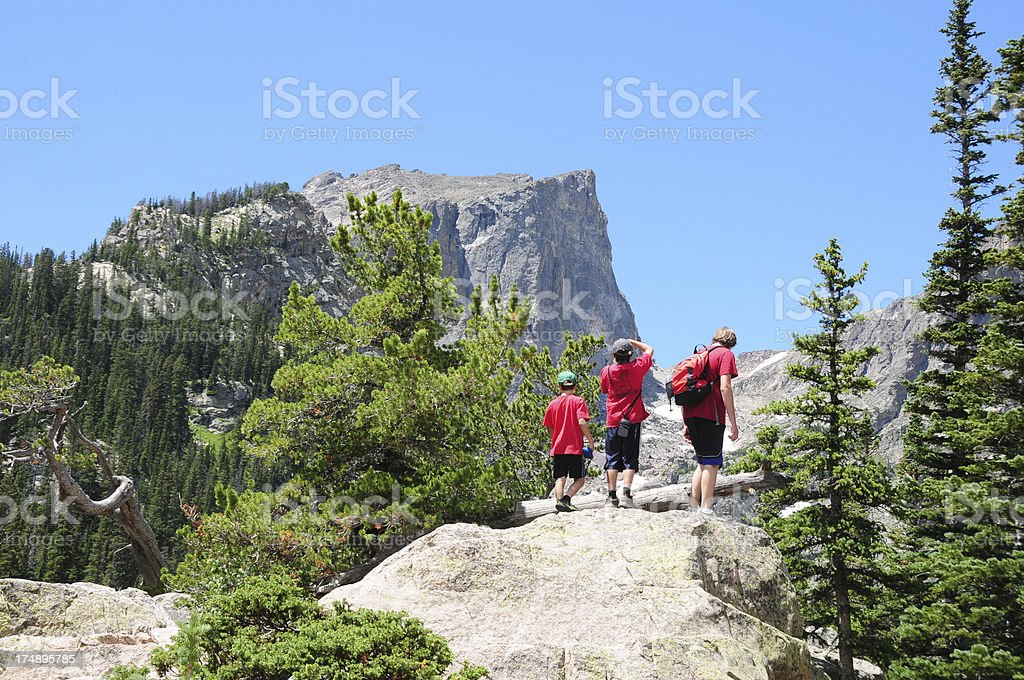 Kids Hiking in Rocky Mtns National Park, Colorado stock photo