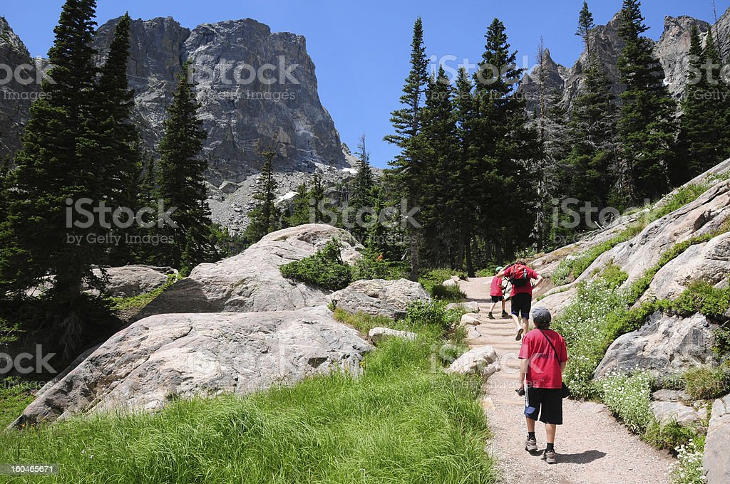 Kids hiking in the Rocky Mountains National Park, Colorado stock photo