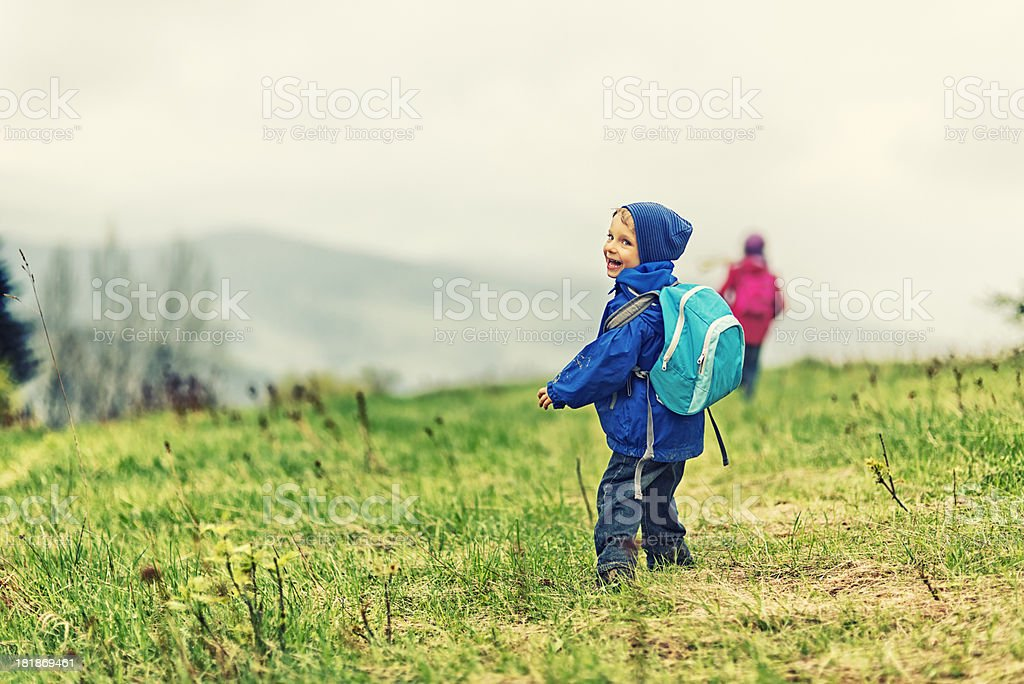 Kids hiking royalty-free stock photo