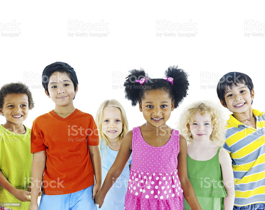 Kids holding hand stock photo