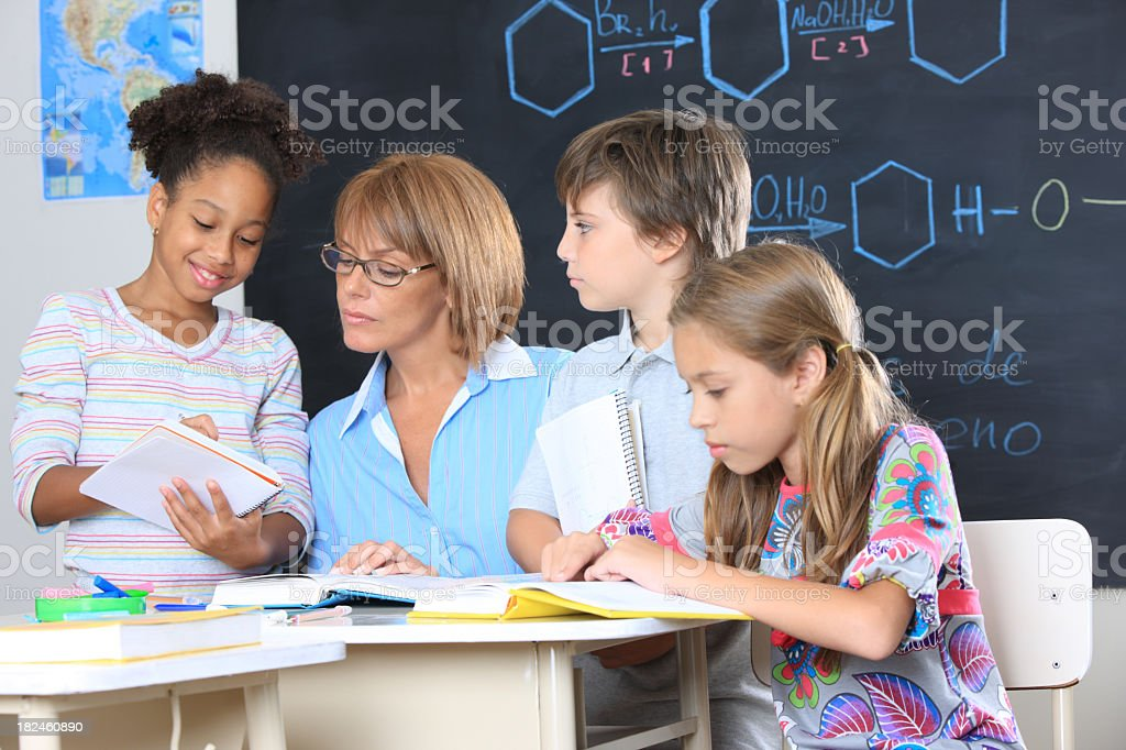 kids in a classroom stock photo