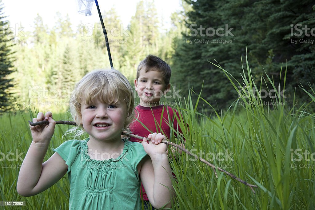 Kids in a field royalty-free stock photo