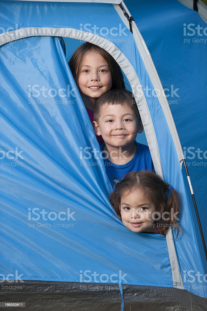 Kids in a Tent royalty-free stock photo