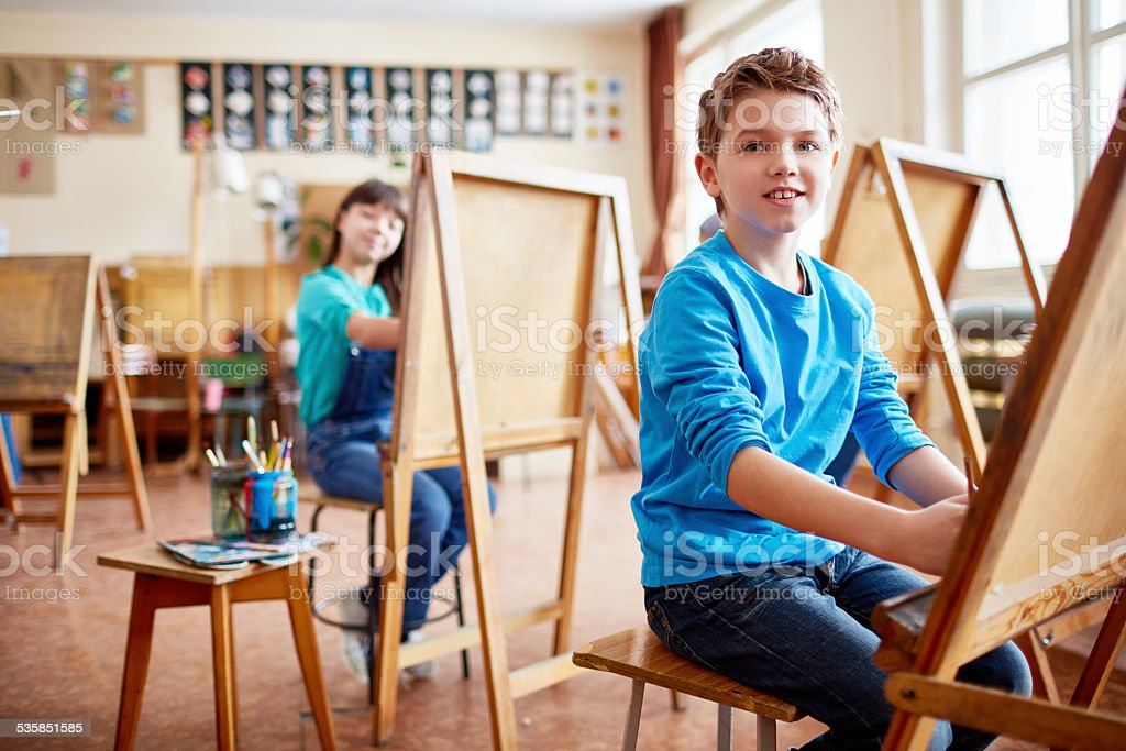 Kids in art studio stock photo