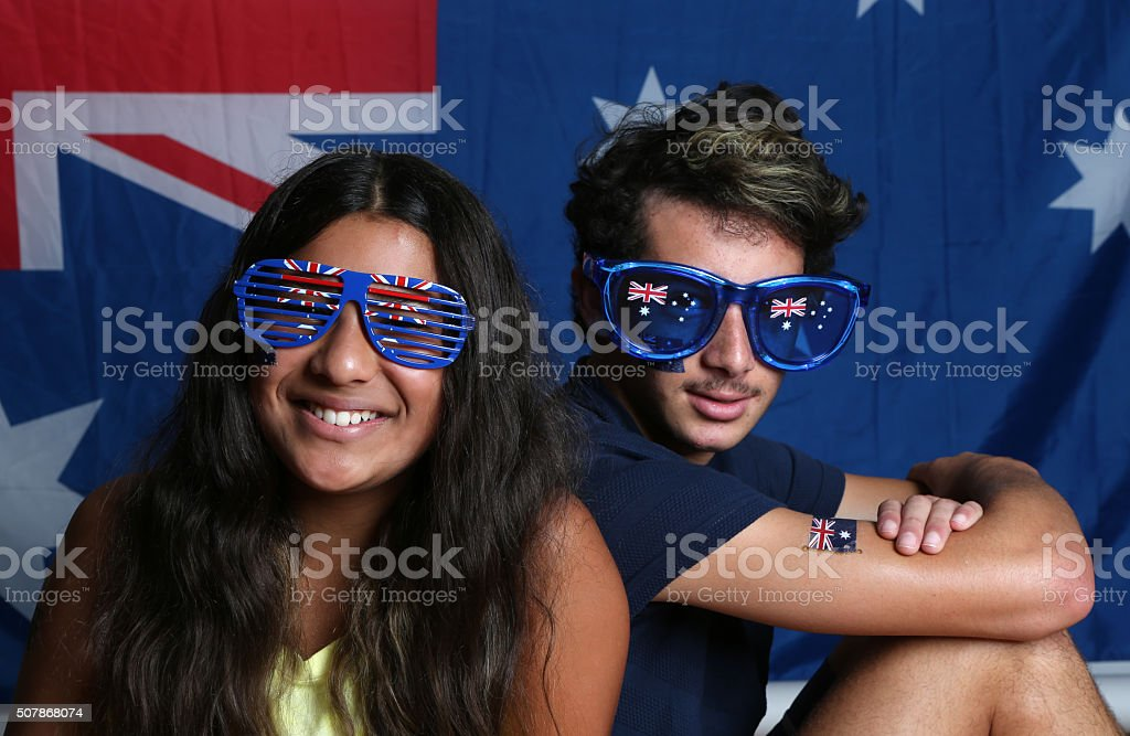 Kids in Australian Apparel royalty-free stock photo