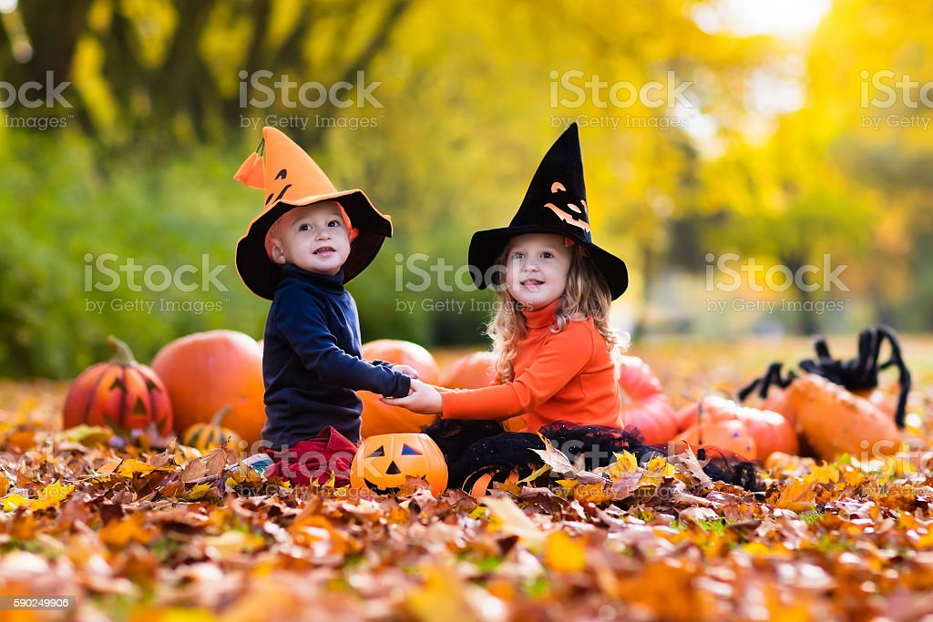 Kids in black and orange hats carving pumpkins on Halloween stock photo