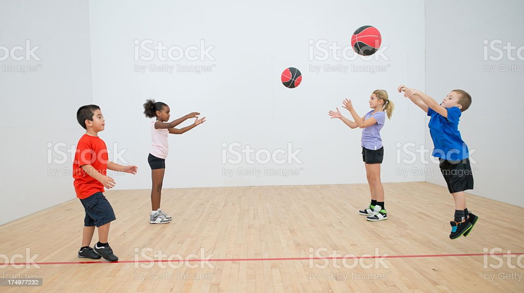 Kids in gym class. stock photo