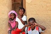 Kids in maman Martine Diedhiou.s case a etages. Mlomp-Oussuye-Senegal. 2302