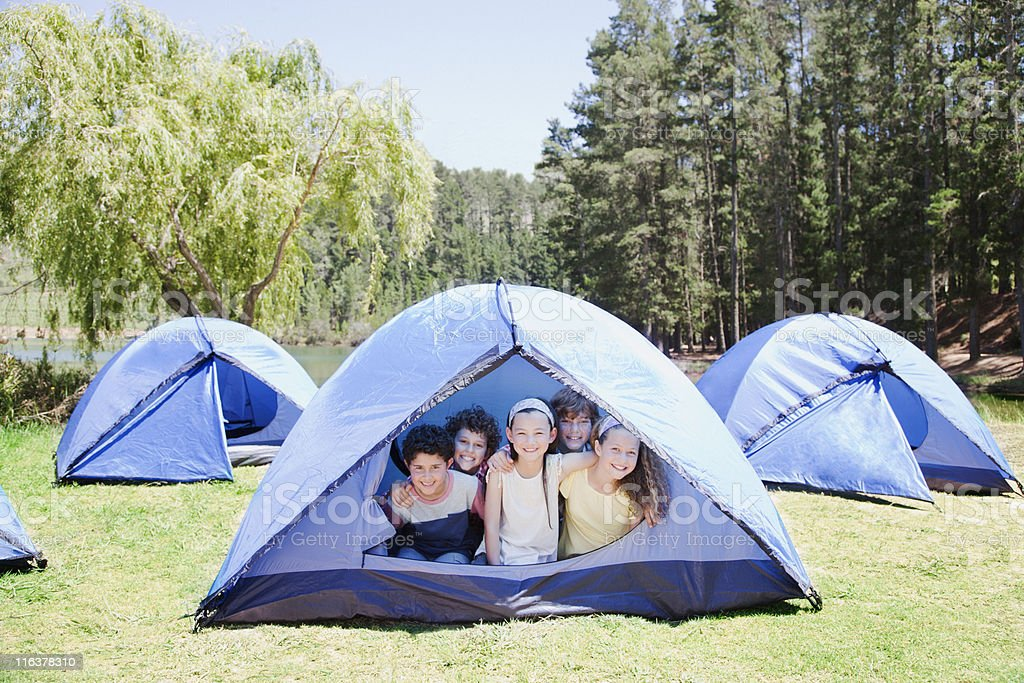 Kids in tent royalty-free stock photo