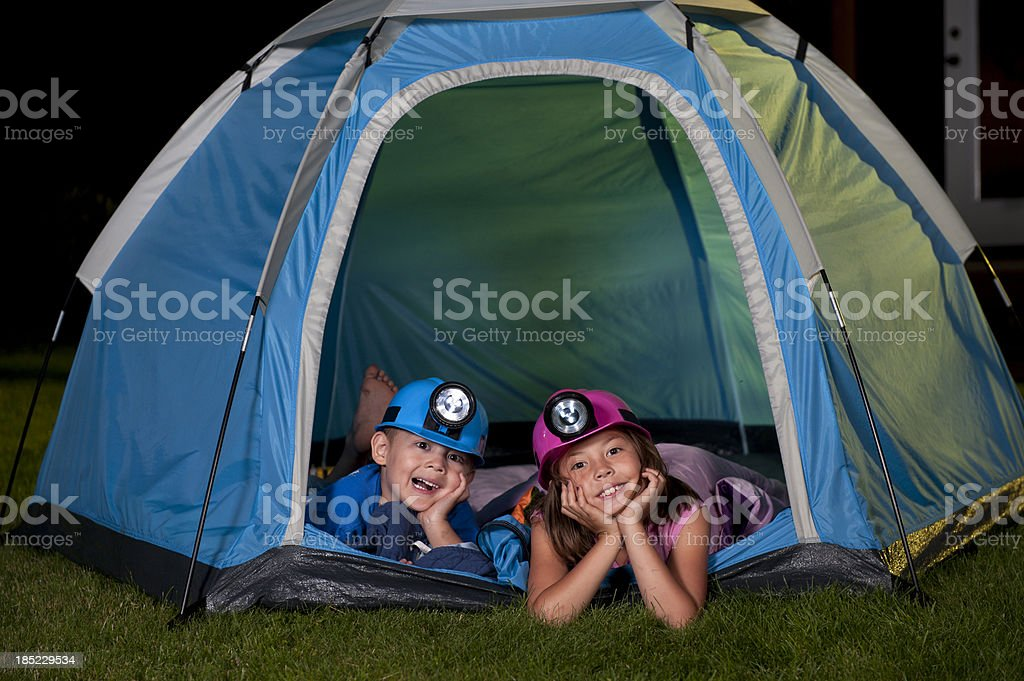 Kids in Tent stock photo