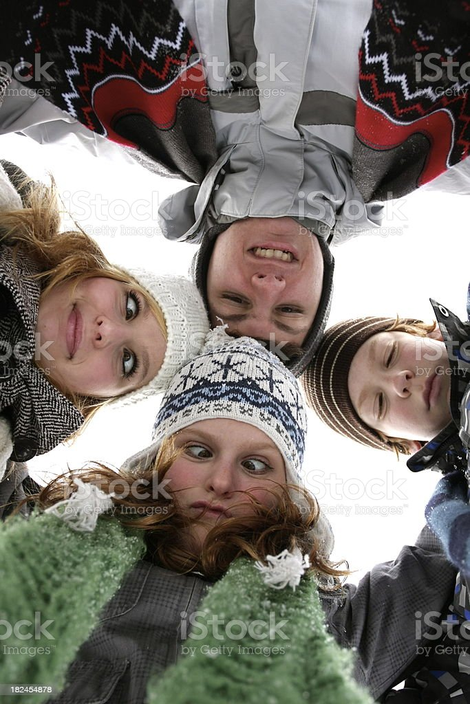 Kids in Winter Wear Making Faces royalty-free stock photo