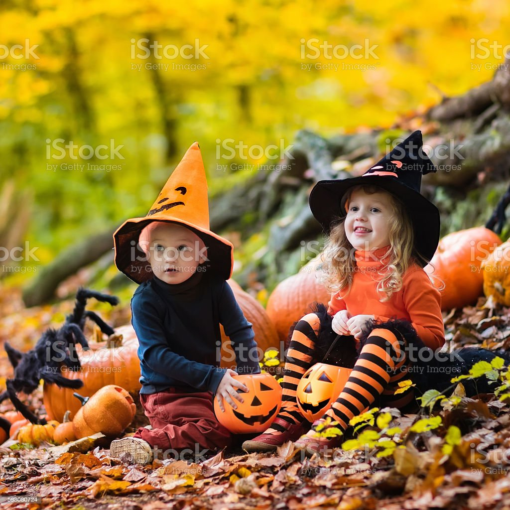 Kids in witch costumes with pumpkins on Halloween stock photo