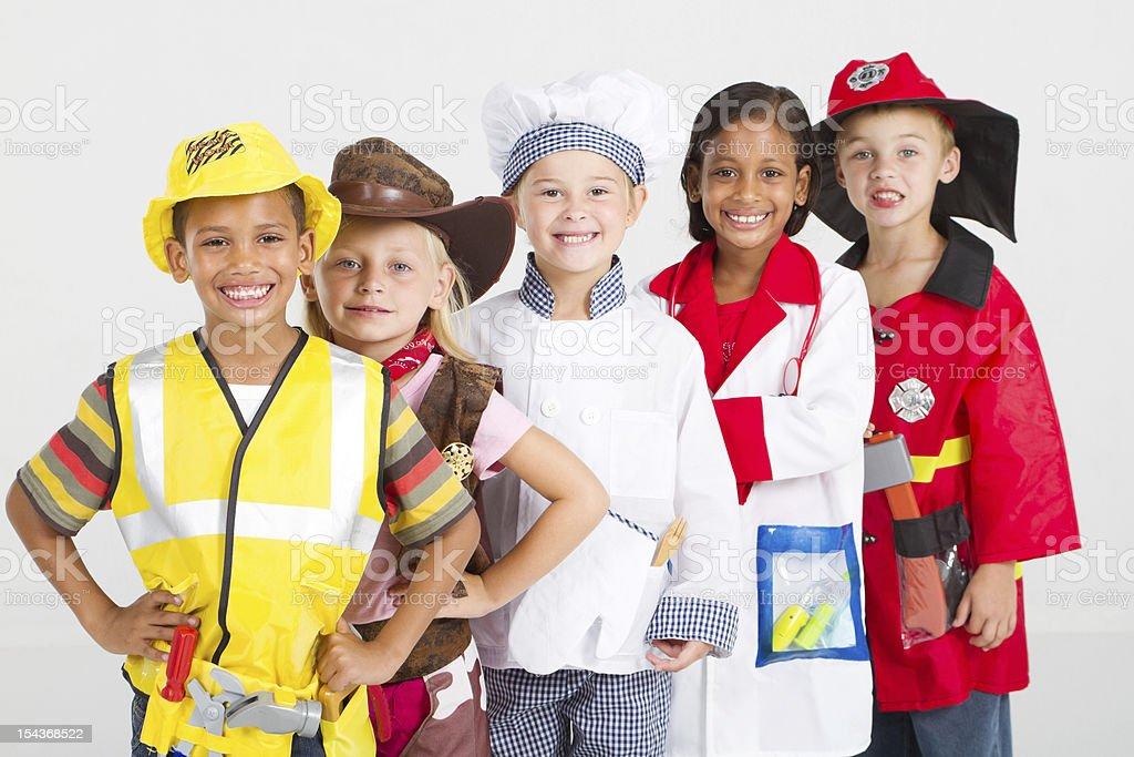 kids in work wear stock photo