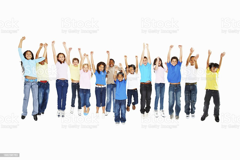 Kids jumping for joy royalty-free stock photo