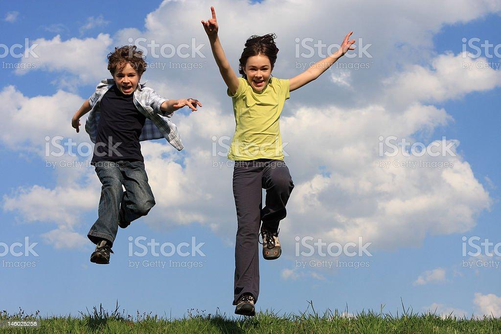 Kids jumping royalty-free stock photo
