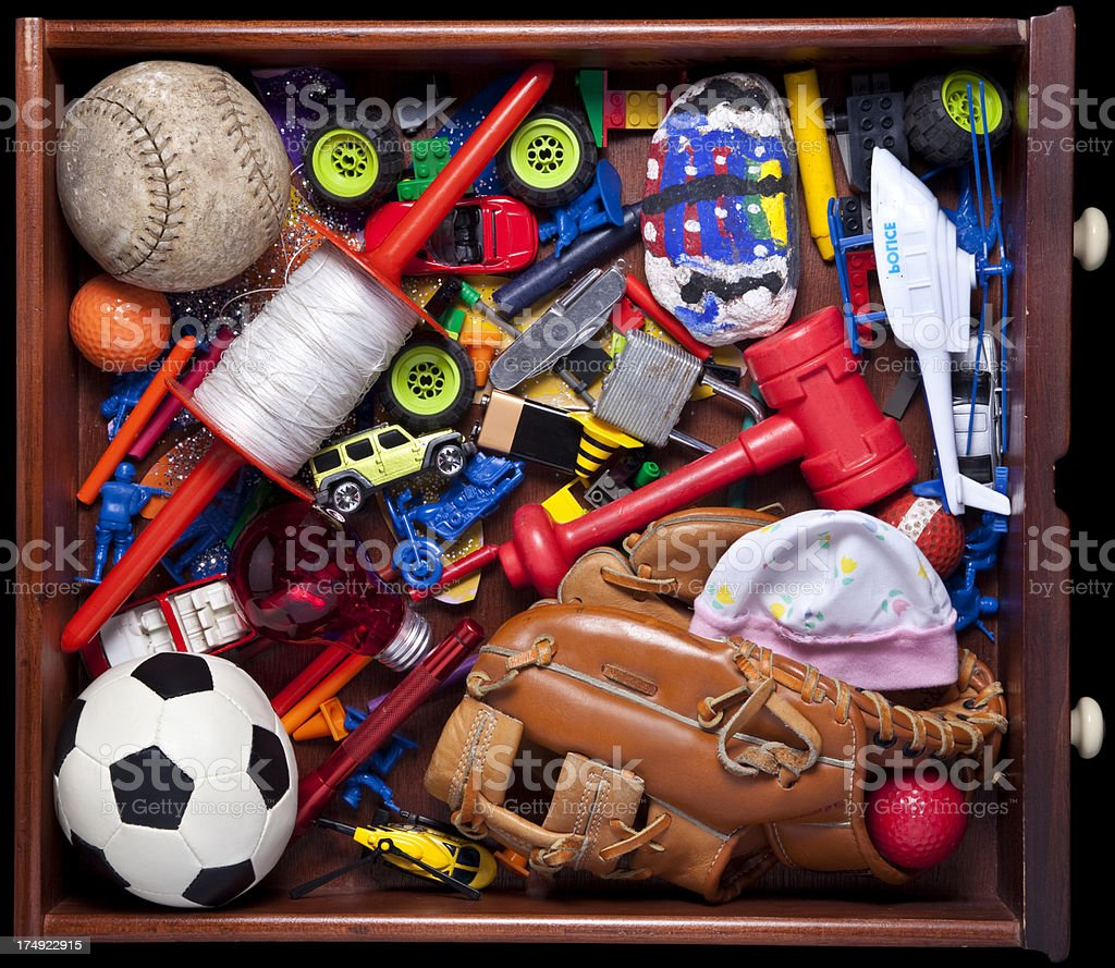 Kids Junk Drawer stock photo
