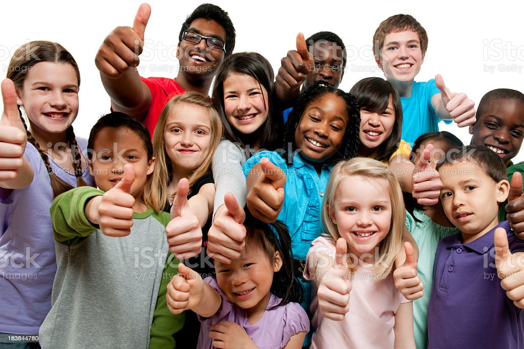 Kids K through 12th grade giving thumbs up stock photo