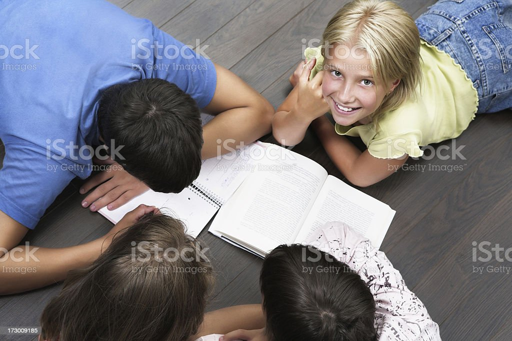 Kids learning at home royalty-free stock photo