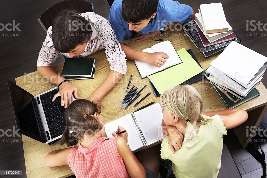 Kids learning with laptop royalty-free stock photo