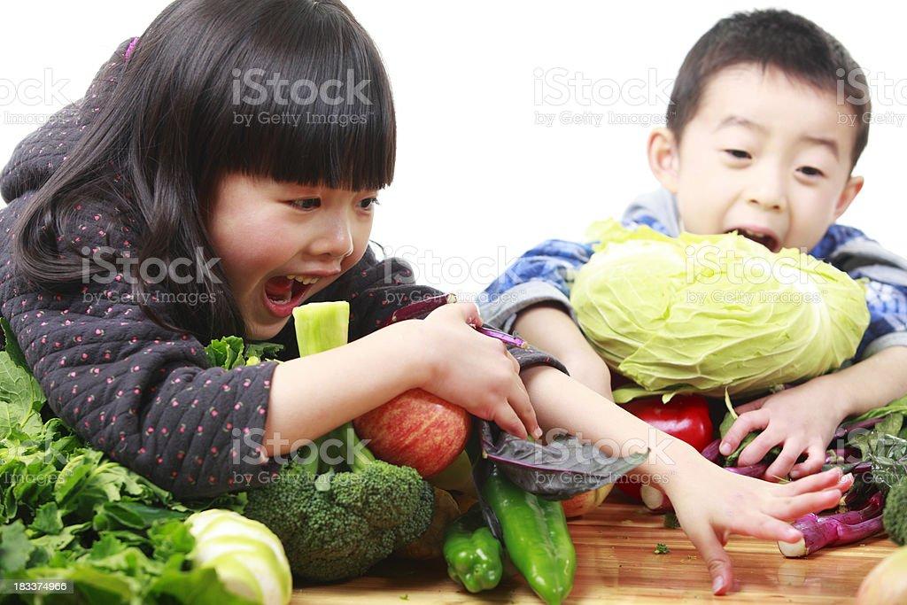 kids like vegetable royalty-free stock photo