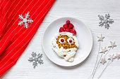 kids menu Christmas breakfast waffles top view