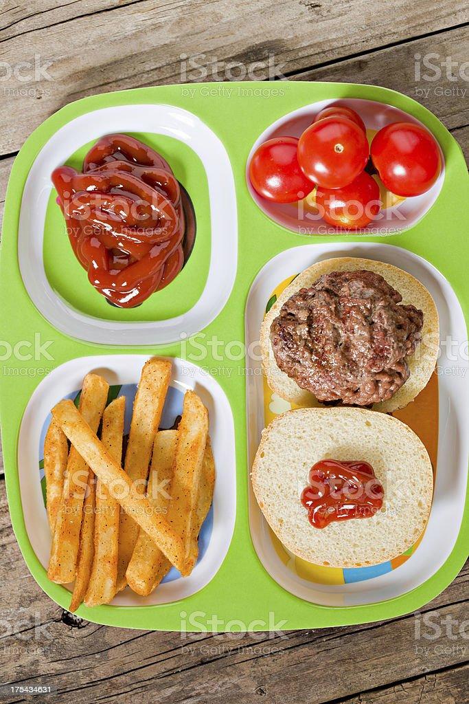 Kids Mini Burger Meal stock photo
