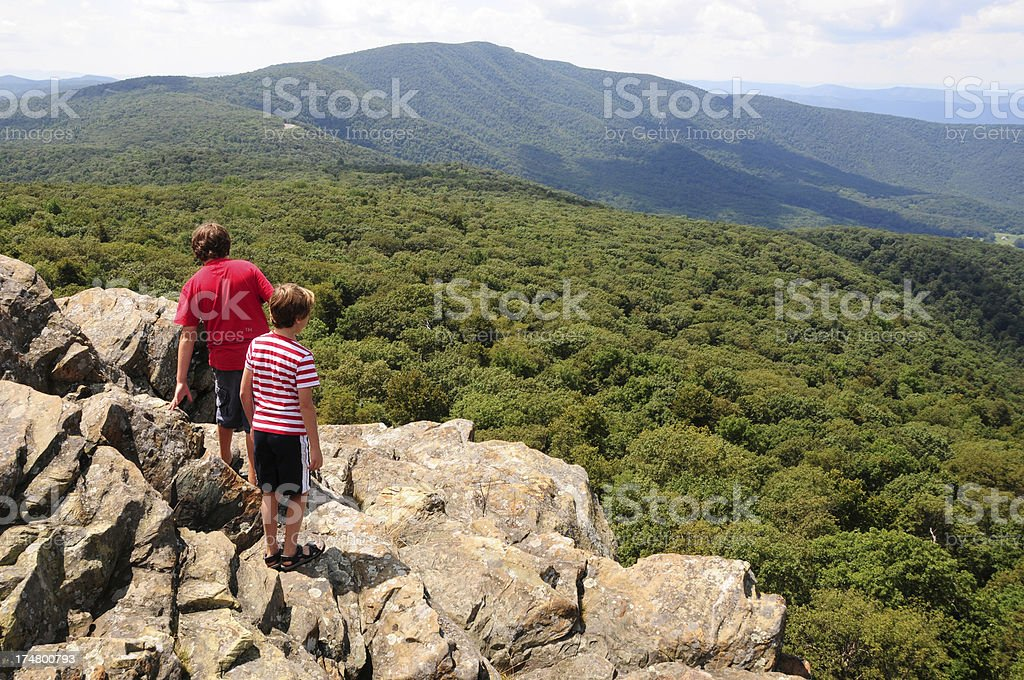 Kids Observing the view at Shenandoah National Park stock photo