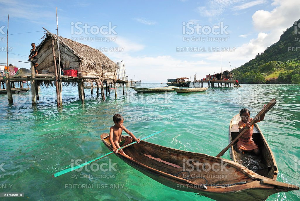 Kids of Bajau Laut in Sabah Borneo Malaysia stock photo