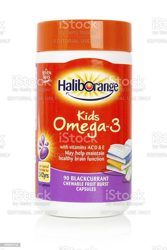 Kids Omega 3 Haliborange Chewable Vitamin Capsules stock photo