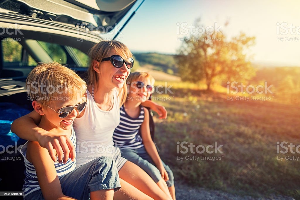 Kids on a road trip in Tuscany, Italy stock photo