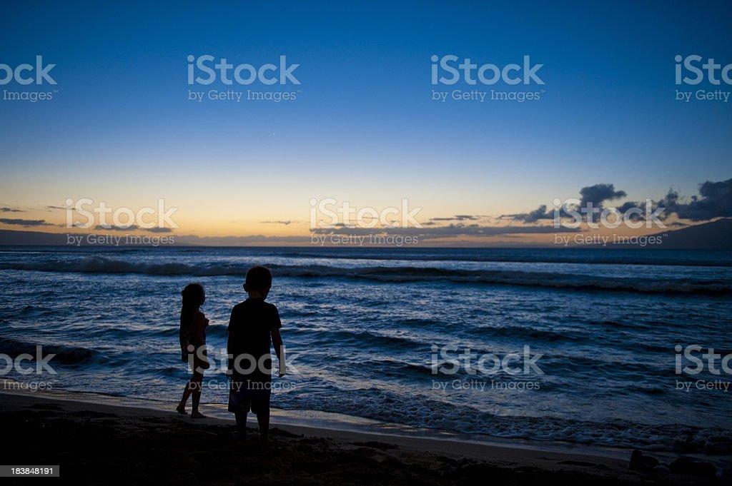 Kids On Beach At Sunset stock photo