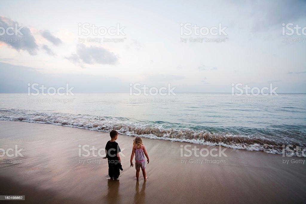 Kids on beach royalty-free stock photo