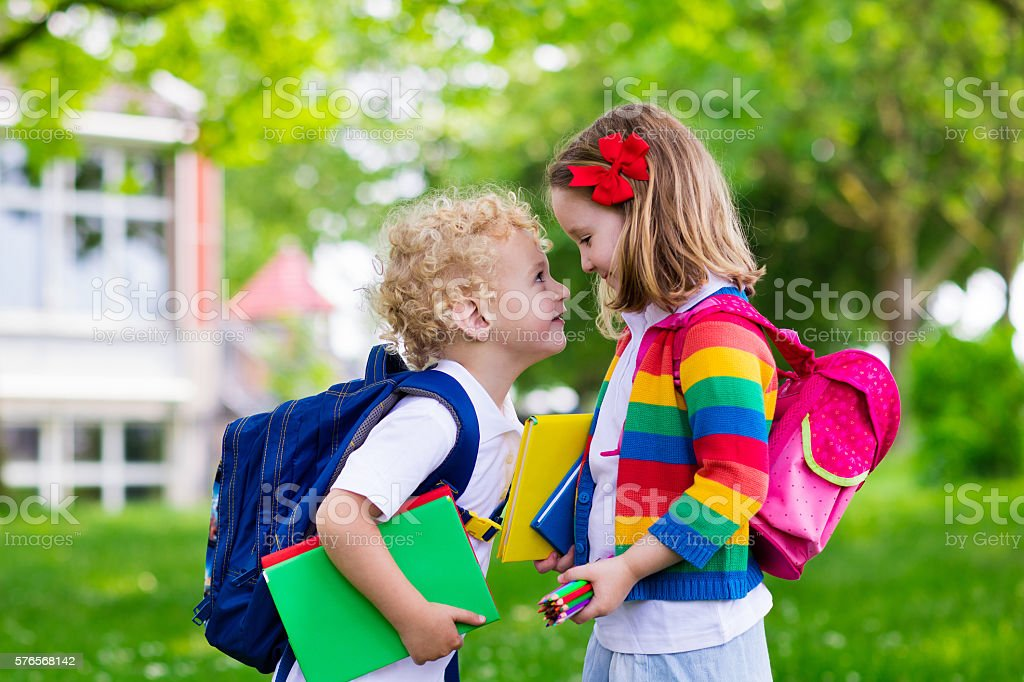 Kids on first school day. Back to school stock photo