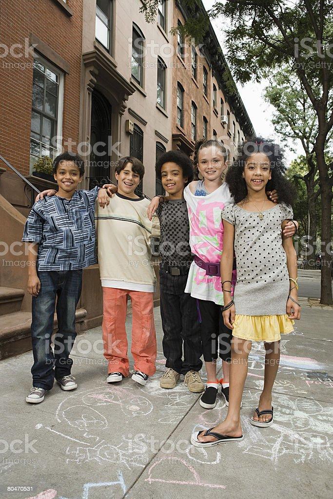 Kids on sidewalk royalty-free stock photo