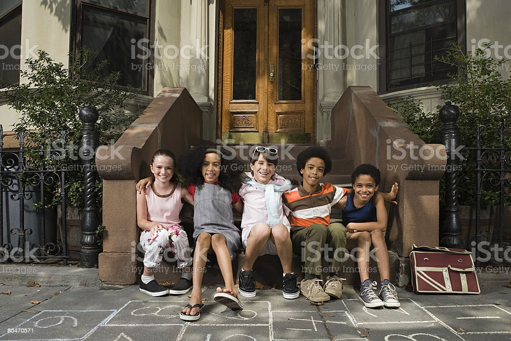 Kids on steps royalty-free stock photo