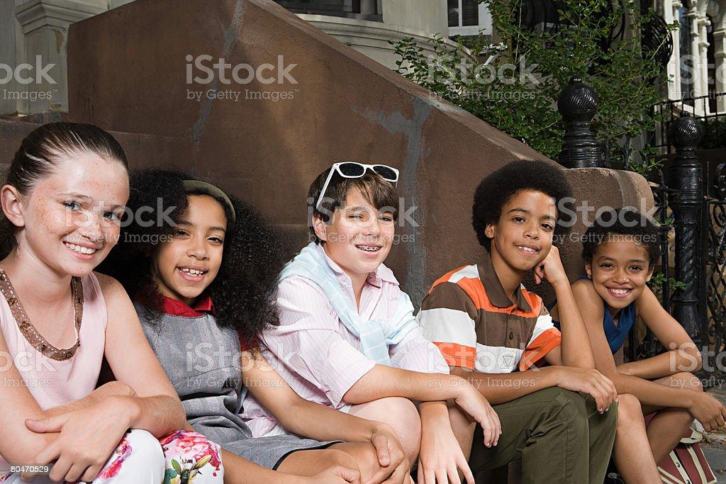 Kids on street royalty-free stock photo