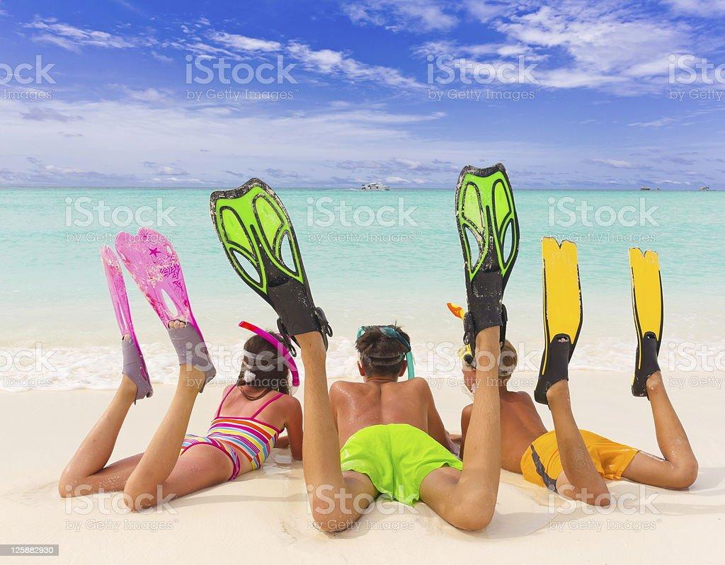 Kids on the beach royalty-free stock photo