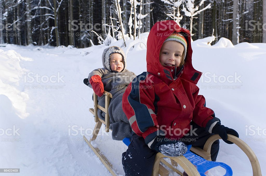 Kids on the Sled royalty-free stock photo