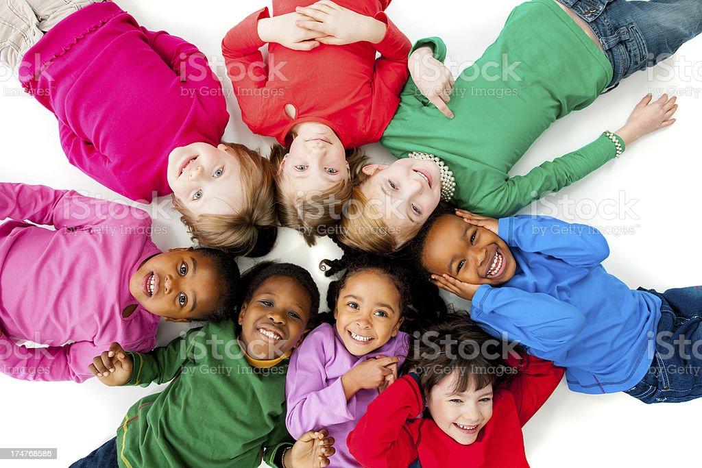 Kids on white background stock photo
