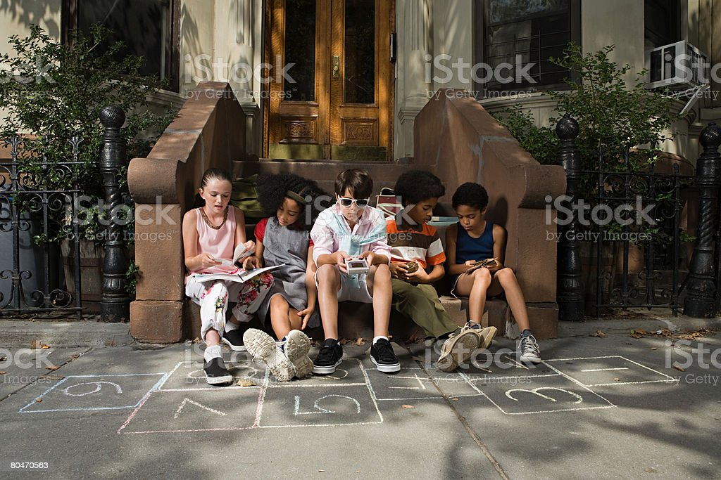 Kids outside house royalty-free stock photo