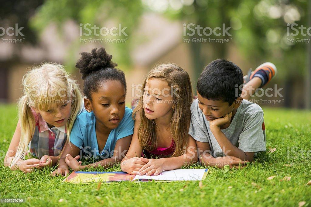 Kids outside stock photo