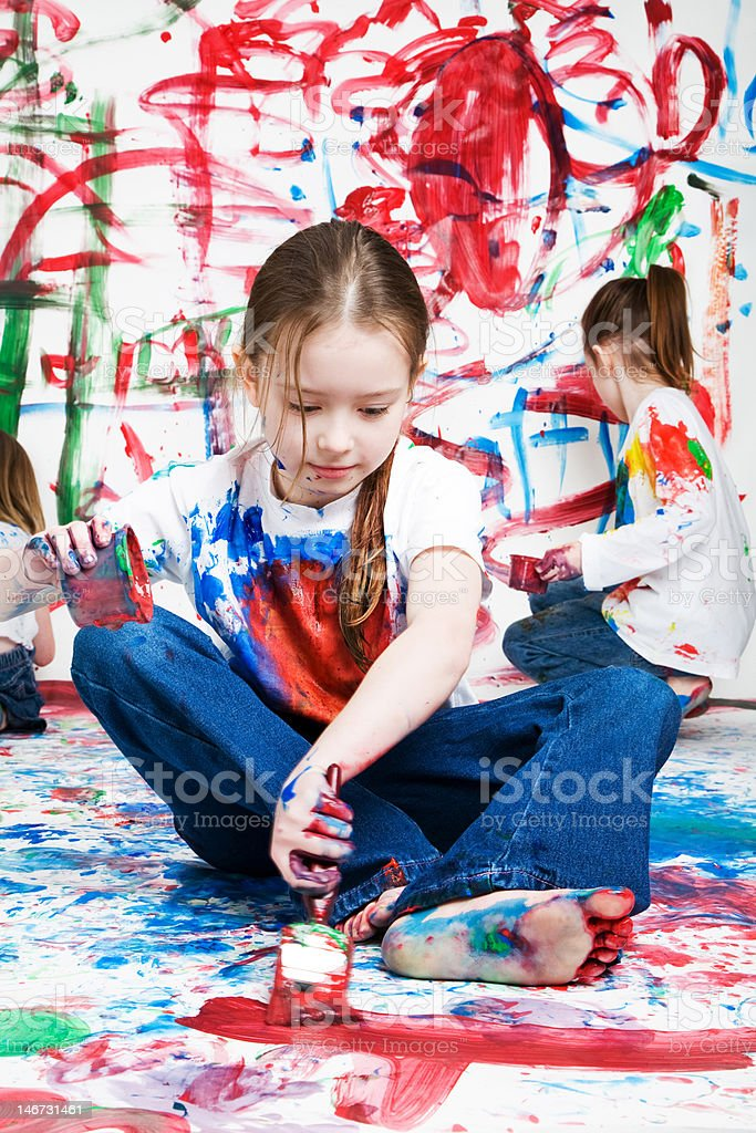 Kids painting royalty-free stock photo