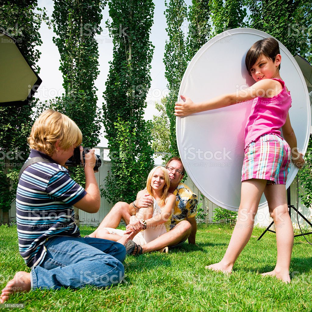 Kids' Photo Shoot -Turn Upside Down Concept royalty-free stock photo