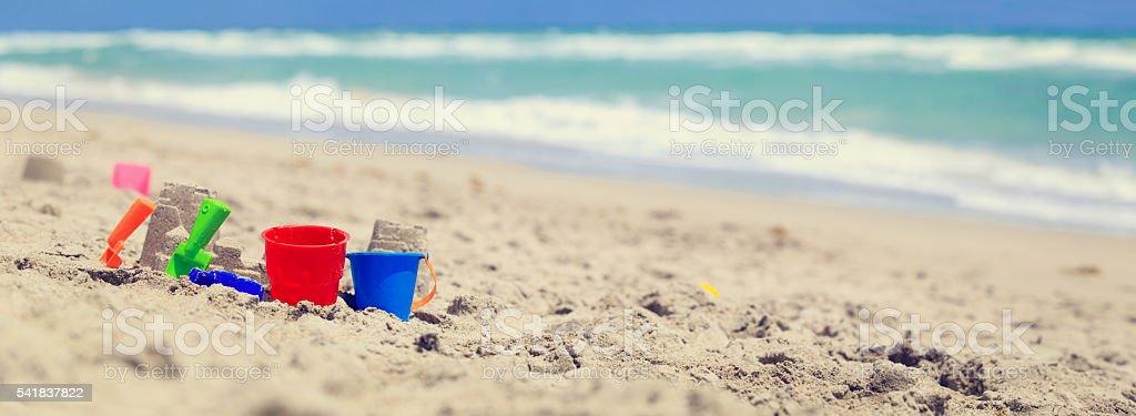 kids play on beach concept stock photo
