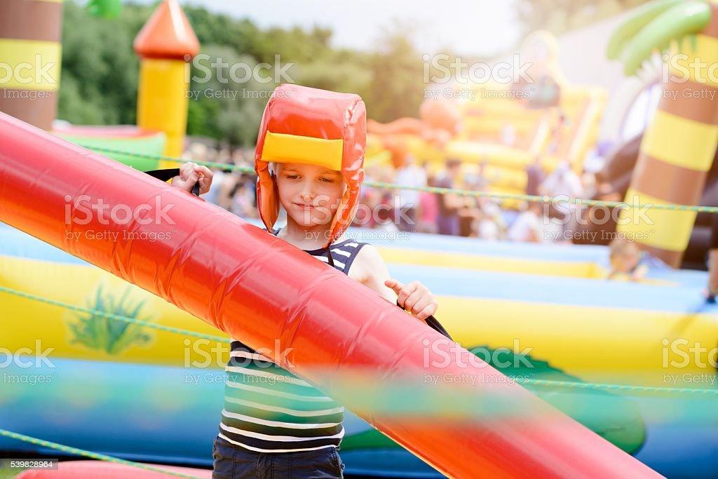 Kids playing - fighting stock photo
